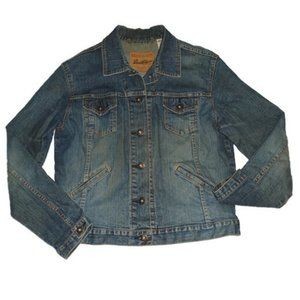Levis Denim Jacket Blue Jean Distressed M 8 / 10
